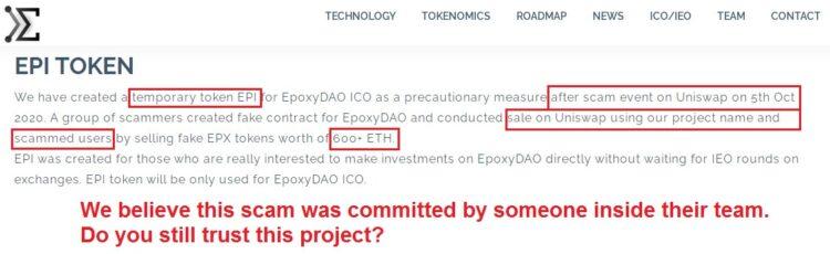 EpoxyDAO scammed on Uniswap